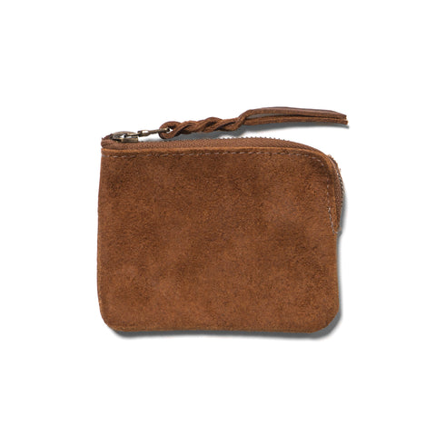 Maple Half Zip Wallet Suede Tan