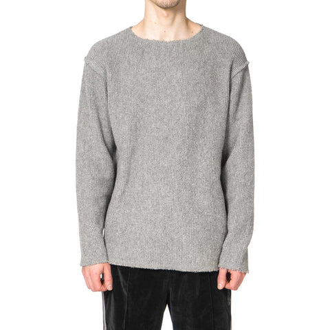 Needles Cut-Off Boat Neck L/S Tee Raschel Knit Gray
