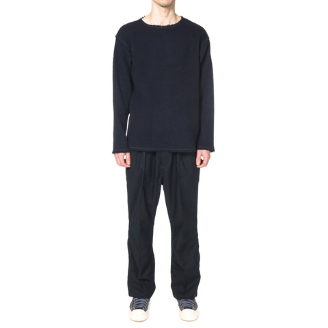 Needles Cut-Off Boat Neck L/S Tee Raschel Knit Navy