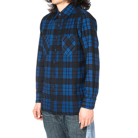 Needles Cut-Off Regular Collar Shirt Block Plaid Blue