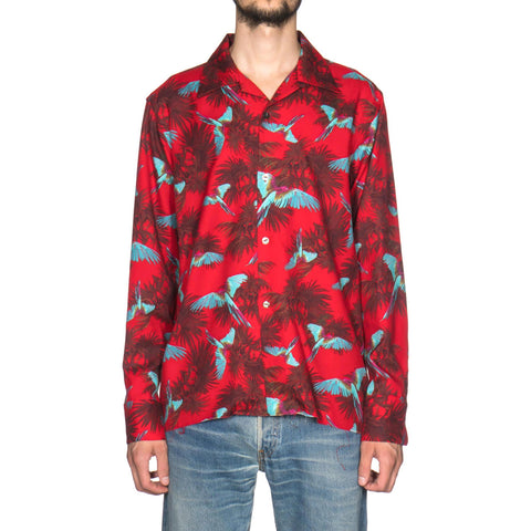 needles Cut Off Bottom One Up Shirt Wool Twill Bird Print Red