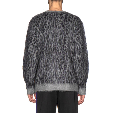 needles Mohair Sweater Leopard Gray