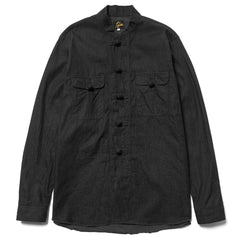 Needles Oriental Button Shirt 6oz Denim Black