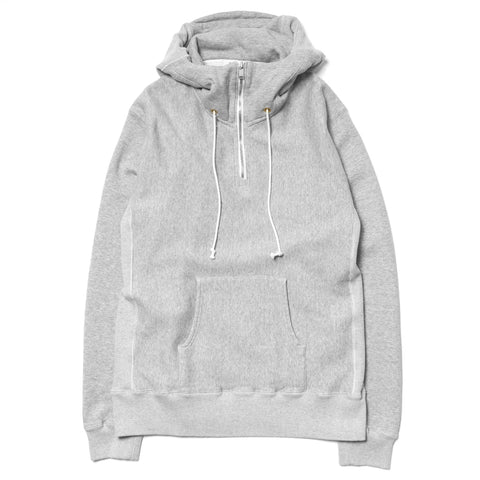 nonnative Dweller Hooded Half Zip Cotton Sweat Gray