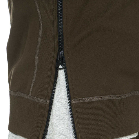 Midweight Terry Side Zip Pullover Hoodie Olive