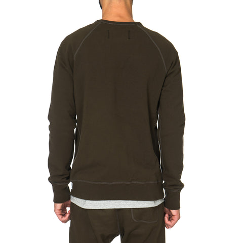 Reigning Champ Midweight Terry Side Zip LS Crewneck Olive