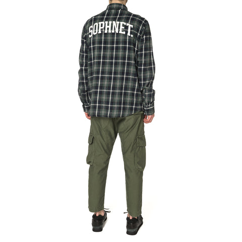 SOPHNET Back Arch Logo Flannel Check Regular Collar Shirt Green