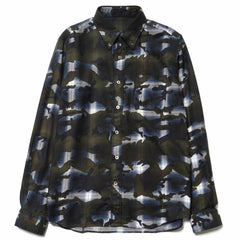 SOPHNET Camouflage Over Print Ombre Check B.D Shirt Blue
