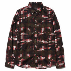 SOPHNET Camouflage Over Print Ombre Check B.D Shirt Red