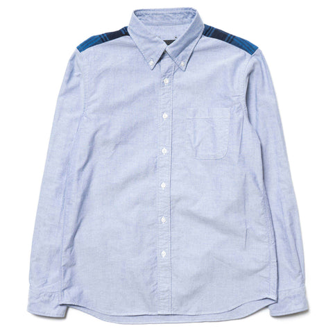 SOPHNET. Indigo Star Flannel Check Panel B.D Shirt