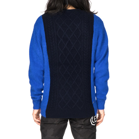 SOPHNET. Sleeve Shaggy Cable Mix Knit Navy