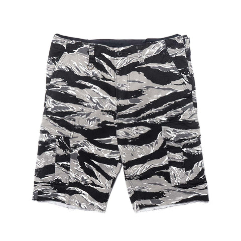SOPHNET. Tiger Camouflage Side Cut Off Cargo Black