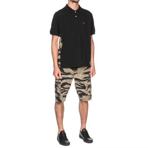 SOPHNET. Camouflage Side Panel Polo Black