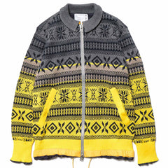 sacai Fair Isle Knit Jacket Gray/Yellow