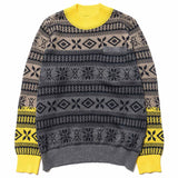 Fair Isle Knit Pullover Gray/Yellow