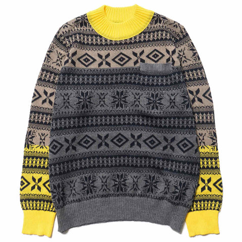 sacai Fair Isle Knit Pullover Gray/Yellow