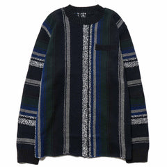 sacai Mexican Knit Stripe Pullover Navy