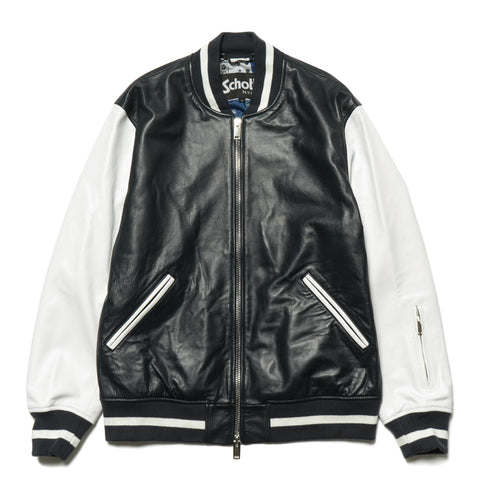 sophnet. Schott Leather Stadium Jacket Navy