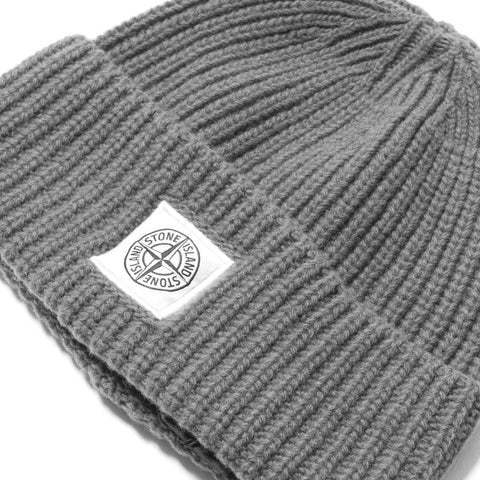 Stone Island A-7 Lambswool with Fabric Details Beanie Grigio