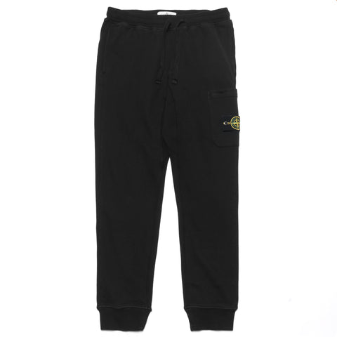 Stone Island Brushed Cotton Fleece Garment Dyed Classic Fleece Pants Black