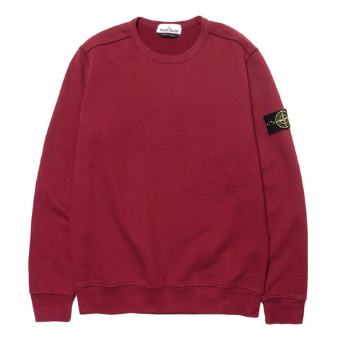 Stone Island Brushed Cotton Fleece Garment Dyed Crewneck Sweat-Shirt Cherry
