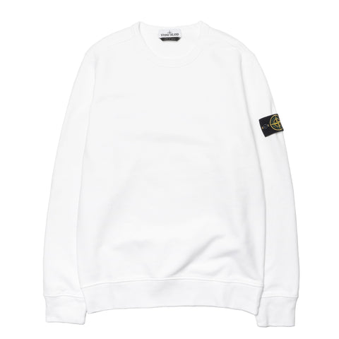 Stone Island Brushed Cotton Fleece Garment Dyed Crewneck Sweat-Shirt White