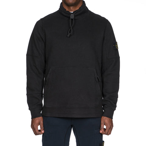 Stone Island Brushed Cotton Fleece Garment Dyed Pullover Funnel Neck Sweat-Shirt Black