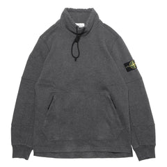 Stone Island Brushed Cotton Fleece Garment Dyed Pullover Funnel Neck Sweat-Shirt Dark Gray