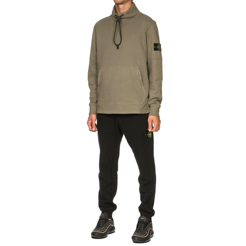 stone island Brushed Cotton Fleece Garment Dyed Pullover Funnel Neck Sweat-Shirt Olive