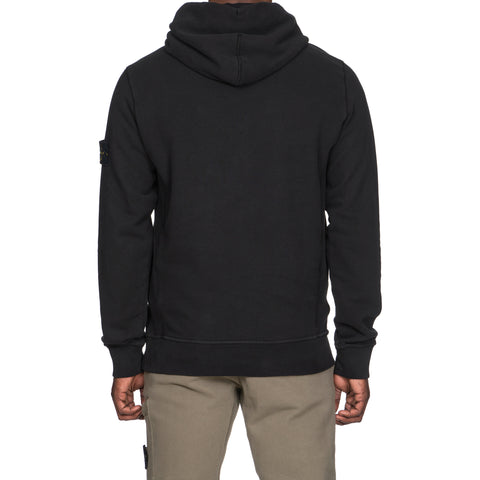 stone island Brushed Cotton Fleece Garment Dyed Pullover Hooded Sweat-Shirt black