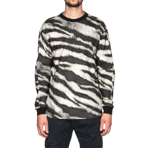 Stone Island Cotton Jersey With White Tiger Camo Print LS T Shirt Beige