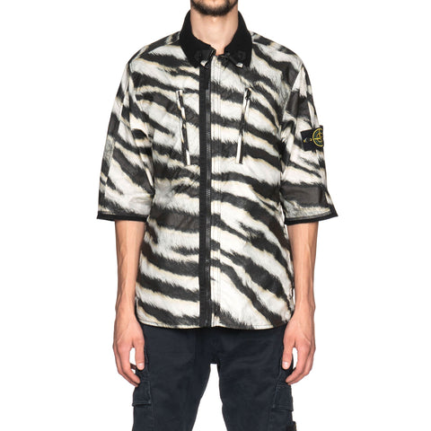 Stone Island Cotton Jersey With White Tiger Camo Print Short Sleeve Overshirt Beige