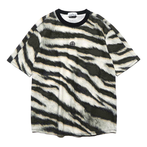 Stone Island Cotton Jersey With White Tiger Camo Print T Shirt Beige