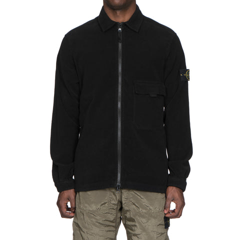 Stone Island Cotton Stretch Moleskin Garment Dyed Overshirt Black