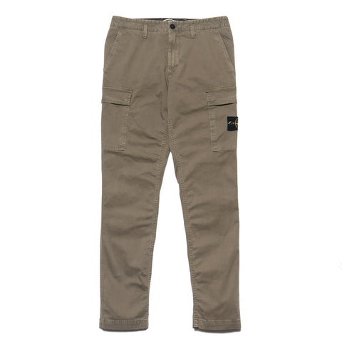 Stone Island Cotton Stretch Reps Garment Dyed Old Effect Cargo Pants Olive