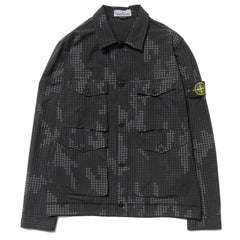 Stone Island Full Compact Rip Stop SI Check Grid Camo Garment Dyed Shirt Black