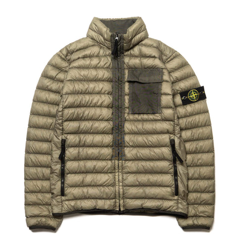Stone Island Garment Dyed Micro Yarn Down Collared Jacket Olive