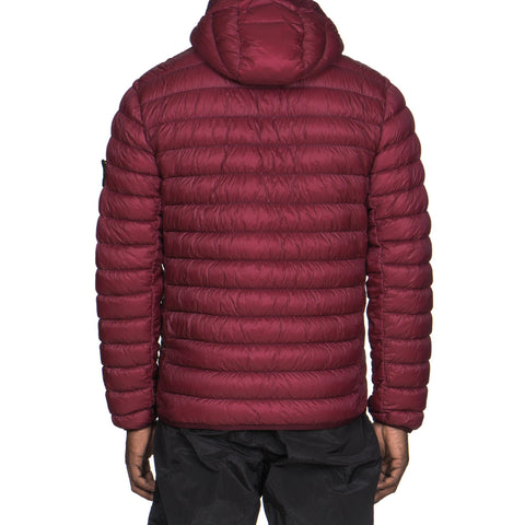 Stone Island Garment Dyed Micro Yarn Down Hooded Zip Jacket Cherry