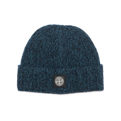 Stone Island Geelong Wool Solid And Mouline Knit Beanie Blue