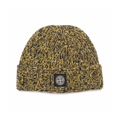 Stone Island Geelong Wool Solid And Mouline Knit Beanie Mustard