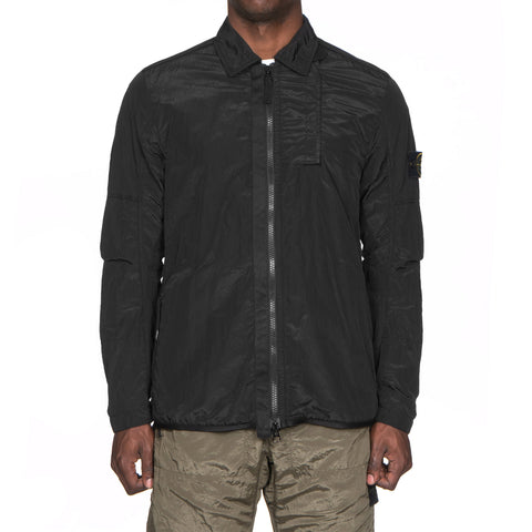 Stone Island Nylon Metal Lined Garment Dyed Overshirt Black