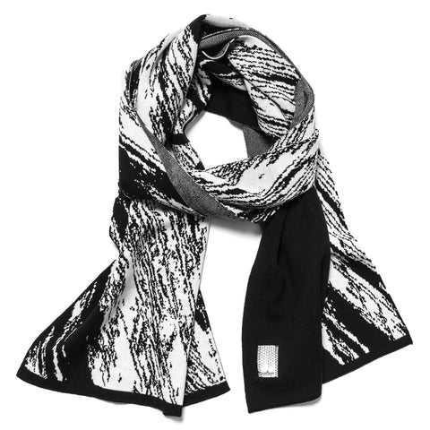 Pure Wool Jacquard Graphic Motif Scarf Black