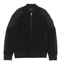 Stone Island Pure Cotton Ghost Piece Mix Fabric Knit Zip Sweater Black