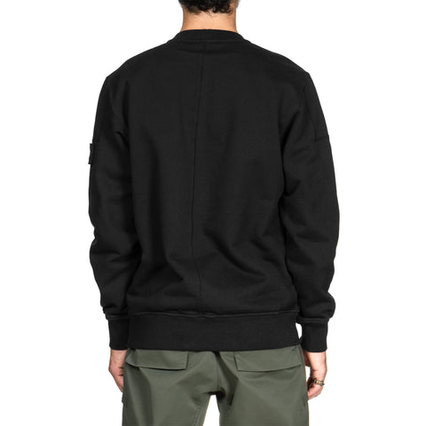 Stone Island Shadow Project Diagonal Weave Cotton Fleece Garment Dyed Crewneck Sweat-Shirt Black