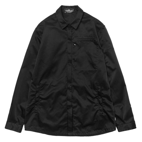 Stone Island Shadow Project Poly Optima Garment Dyed Button Down Long Sleeve Shirt Black