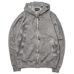 Stone Island Shadow Project Garment Dyed Metal Treatment Zip Hooded Sweatshirt Charcoal