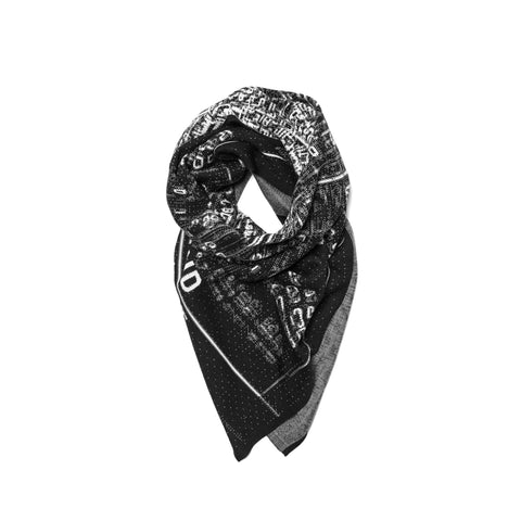 Stone Island Shadow Project Scarf Pure Wool Jacquard Graphic Motif Black x White