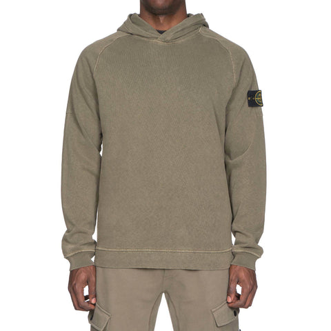 stone island Slub Effect Fleece Garment Dyed Old Effect Pullover Hooded Sweat-Shirt Military Green