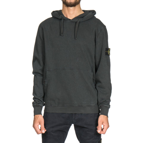 stone island Slub Effect Garment Dyed Old Effect Pullover Velcro Snap Hooded Sweat-Shirt antracite
