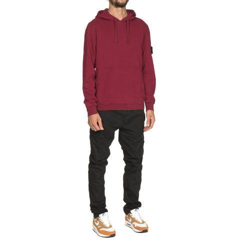 stone island Slub Effect Garment Dyed Old Effect Pullover Velcro Snap Hooded Sweat-Shirt Cherry